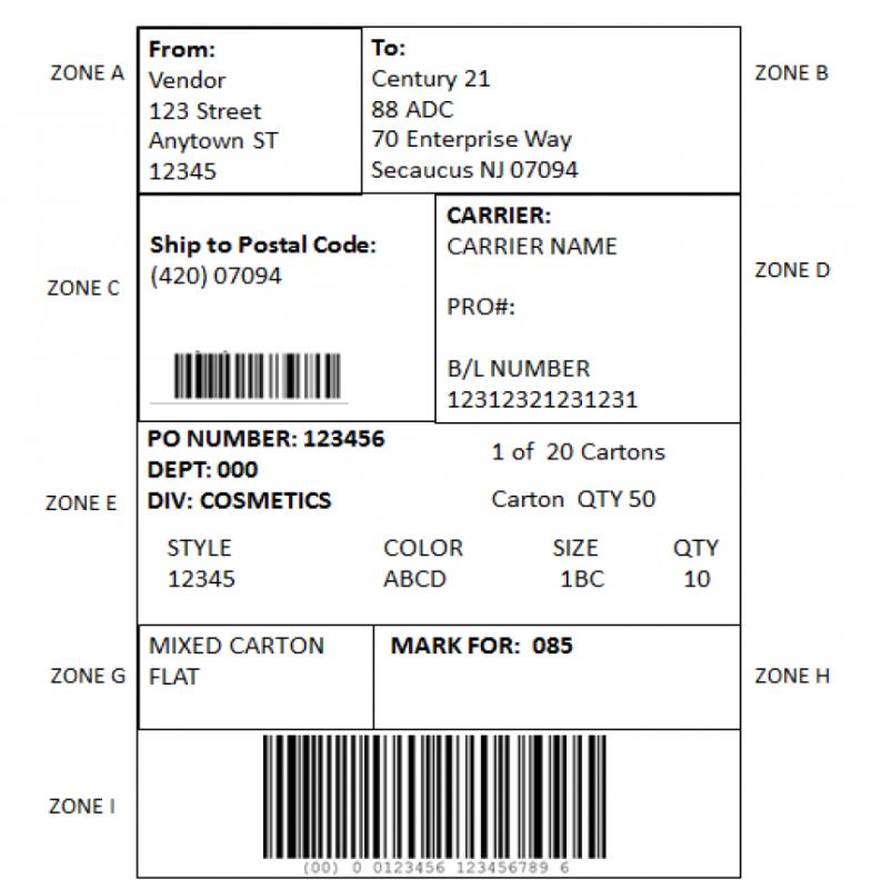 Century 21 EDI Carton Labeling