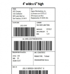 Zappos GS1-128 Shipping Label