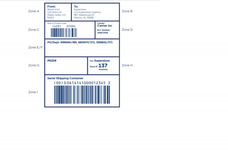 EDI carton label sample